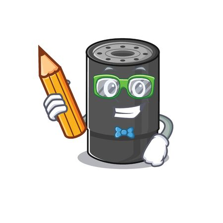 A picture of Student oil filter character holding pencil