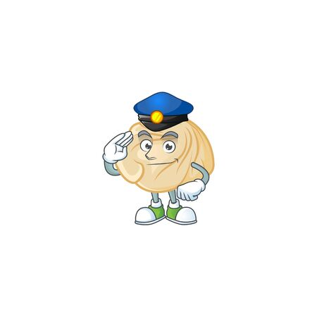 A character design of dumpling in a Police officer costume. Vector illustration