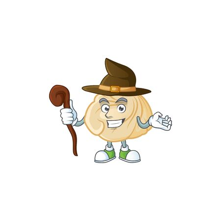 cartoon mascot style of dumpling dressed as a witch. Vector illustration