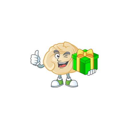 Smiley dumpling cartoon character with gift box. Vector illustration