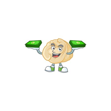 happy rich dumpling character with money on hands. Vector illustration