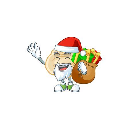 Santa dumpling Cartoon character design having box of gift. Vector illustration