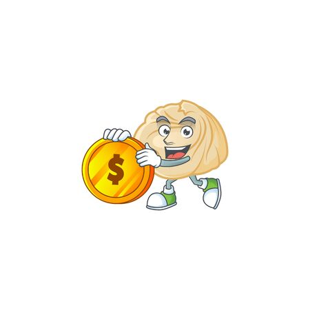 Rich dumpling mascot cartoon design style with gold coin. Vector illustration