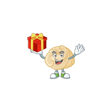 Happy face dumpling cartoon character having a box of gift. Vector illustration 向量圖像