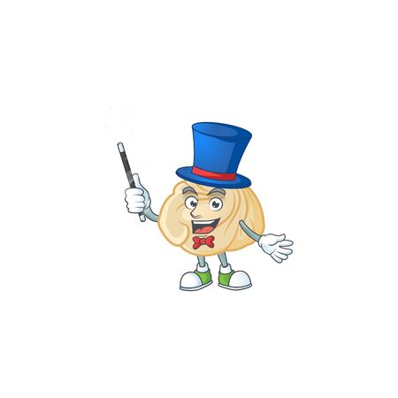 A picture of dumpling performance as a Magician. Vector illustration