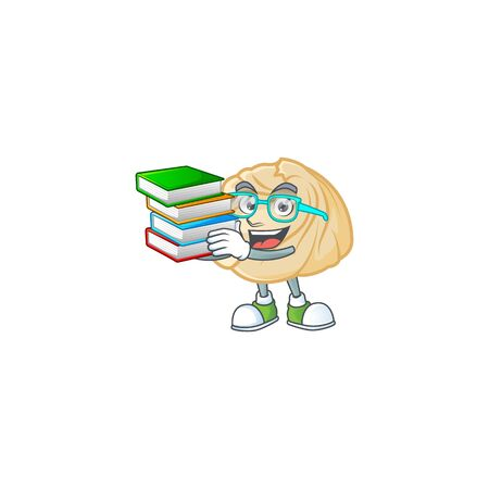 Cool and clever Student dumpling mascot cartoon with book. Vector illustration