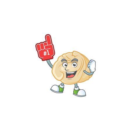 Dumpling mascot cartoon style holding a Foam finger. Vector illustration 向量圖像