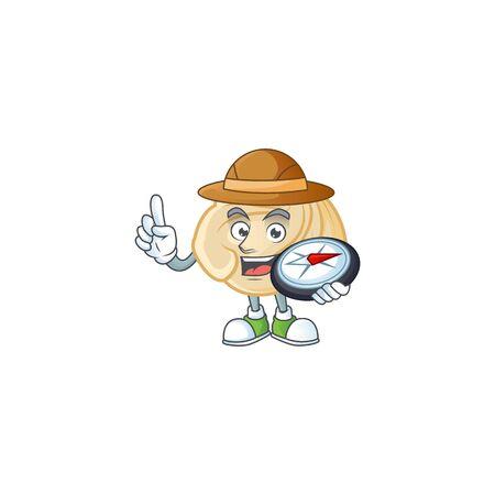 Dumpling design stylized Explorer having a compass. Vector illustration 向量圖像