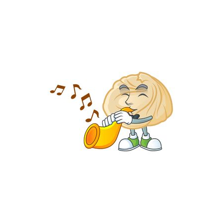 cartoon character style of dumpling performance with trumpet. Vector illustration
