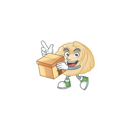 Cute dumpling cartoon character having a box. Vector illustration