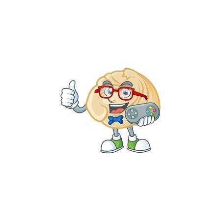 Smiley gamer dumpling cartoon mascot design style. Vector illustration 일러스트