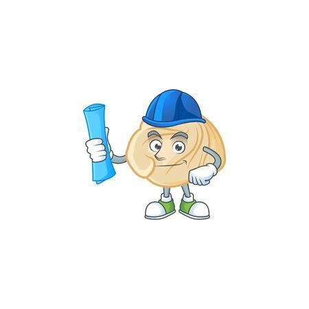 Elegant Architect dumpling having blue prints and blue helmet. Vector illustration 일러스트