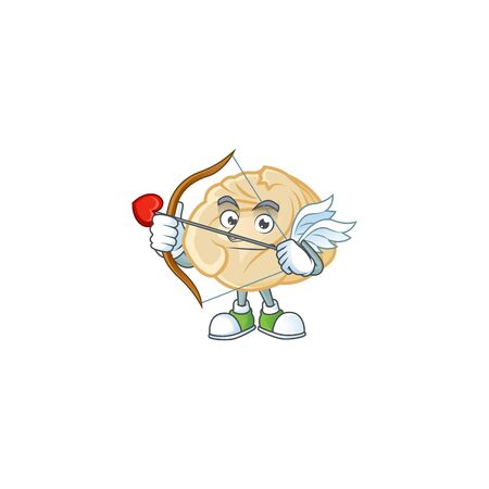 A romantic sweet dumpling Cupid with arrow and wings. Vector illustration 일러스트