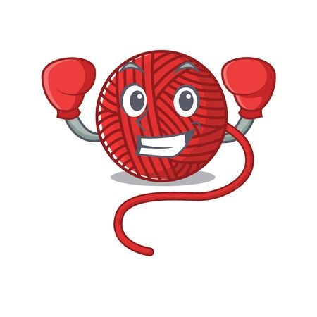 Sporty Boxing red wool yarn mascot character style. Vector illustration