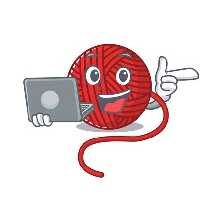 Smart character of red wool yarn working with laptop. Vector illustration Vettoriali