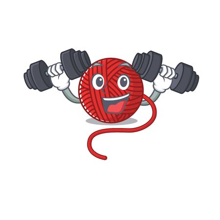 Sporty Fitness exercise red wool yarn using barbells. Vector illustration
