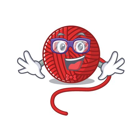 cartoon character of Geek red wool yarn design. Vector illustration
