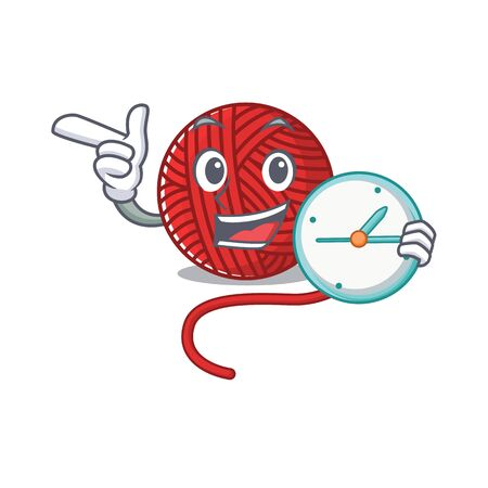 cartoon character style red wool yarn having clock. Vector illustration Vettoriali