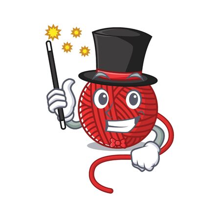 A picture of red wool yarn performance as a Magician. Vector illustration  イラスト・ベクター素材