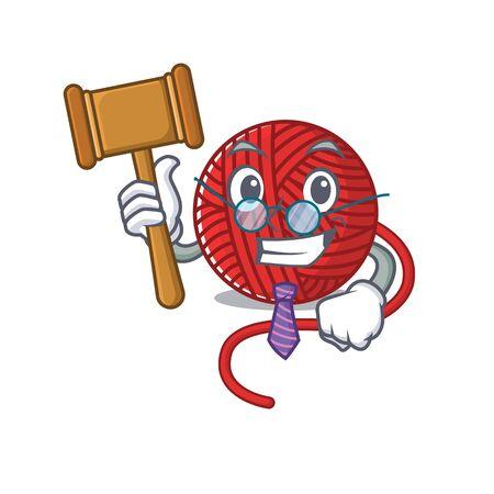 Smart Judge red wool yarn in mascot cartoon character style. Vector illustration