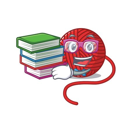 Cool and clever Student red wool yarn mascot cartoon with book. Vector illustration