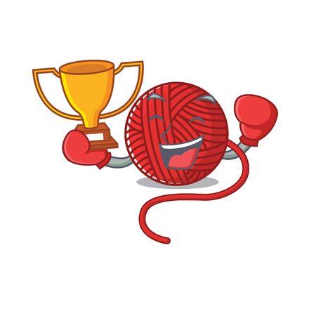 fantastic Boxing winner of red wool yarn in mascot cartoon style. Vector illustration  イラスト・ベクター素材