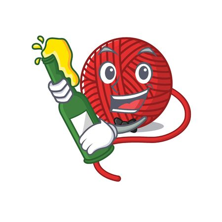 mascot cartoon design of red wool yarn with bottle of beer. Vector illustration  イラスト・ベクター素材