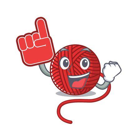 Red wool yarn mascot cartoon style holding a Foam finger. Vector illustration  イラスト・ベクター素材
