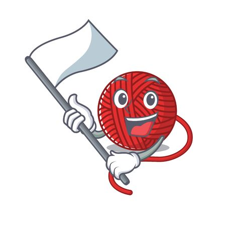 Funny red wool yarn cartoon character style holding a standing flag. Vector illustration
