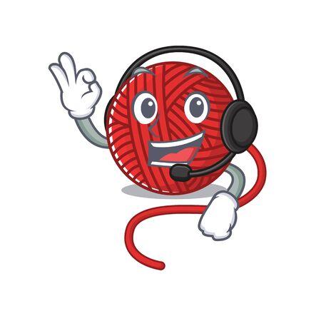 Smiley red wool yarn cartoon character design wearing headphone. Vector illustration  イラスト・ベクター素材