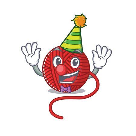 Funny Clown red wool yarn cartoon character mascot design. Vector illustration