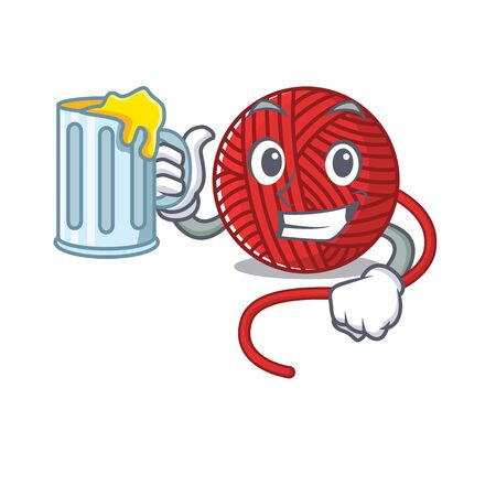 Happy red wool yarn mascot design with a big glass. Vector illustration