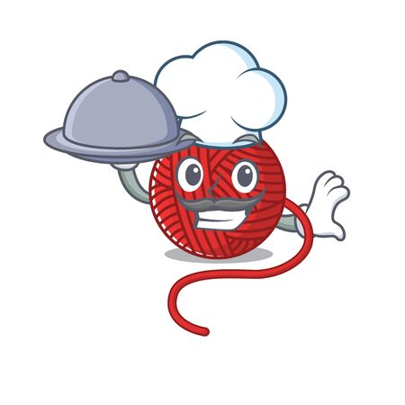 cartoon design of red wool yarn as a Chef having food on tray. Vector illustration