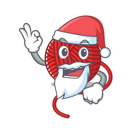 A picture of Santa red wool yarn mascot picture style with ok finger. Vector illustration