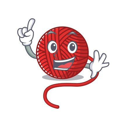 One Finger red wool yarn in mascot cartoon character style. Vector illustration  イラスト・ベクター素材