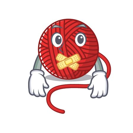 a silent gesture of red wool yarn mascot cartoon character design. Vector illustration  イラスト・ベクター素材