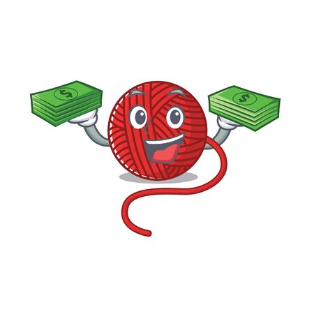 happy rich red wool yarn character with money on hands. Vector illustration  イラスト・ベクター素材