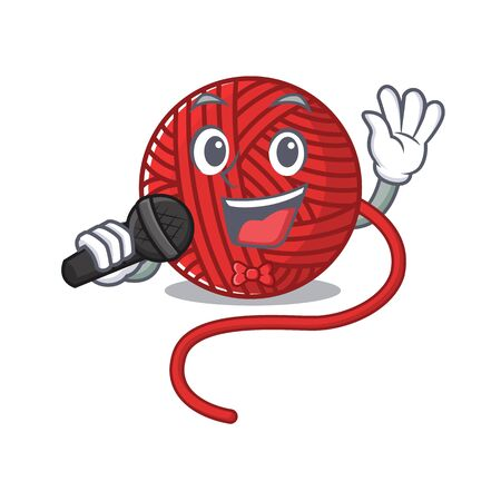 Happy red wool yarn singing on a microphone. Vector illustration