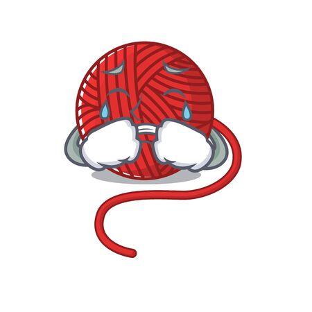 Sad of red wool yarn cartoon mascot style. Vector illustration