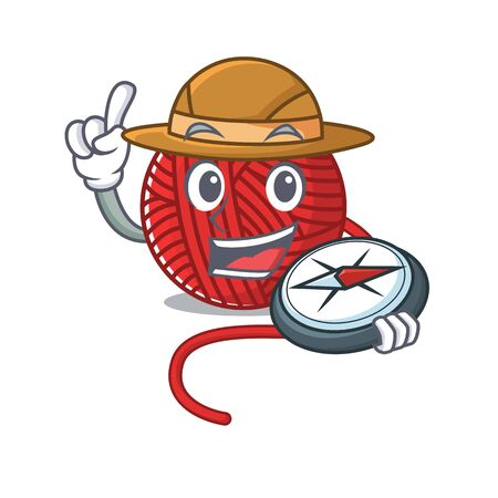 Red wool yarn stylized Explorer having a compass. Vector illustration