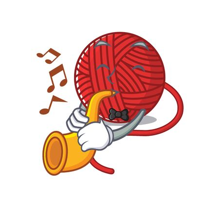 cartoon character style of red wool yarn performance with trumpet. Vector illustration
