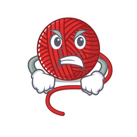 Red wool yarn cartoon character design having angry face. Vector illustration 일러스트