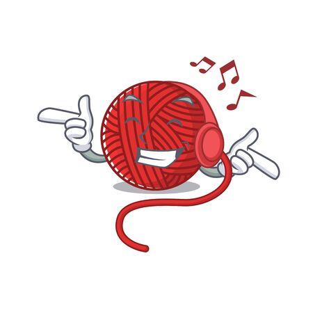 Listening music red wool yarn mascot cartoon character design. Vector illustration