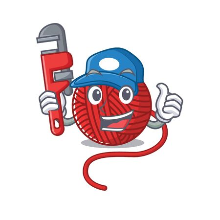 Cool Plumber red wool yarn on mascot picture style. Vector illustration