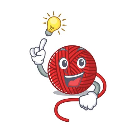 Have an idea gesture of red wool yarn cartoon character design. Vector illustration
