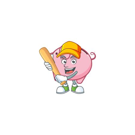 Sporty smiling piggy bank cartoon mascot with baseball