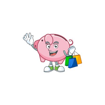 A happy rich piggy bank waving and holding Shopping bag