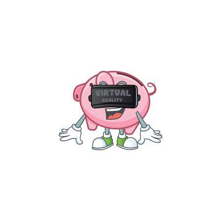 Trendy piggy bank character wearing Virtual reality headset