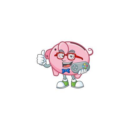 Smiley gamer piggy bank cartoon mascot style