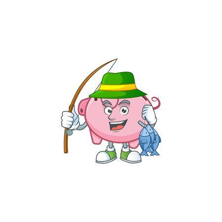 A Picture of happy Fishing piggy bank design Иллюстрация